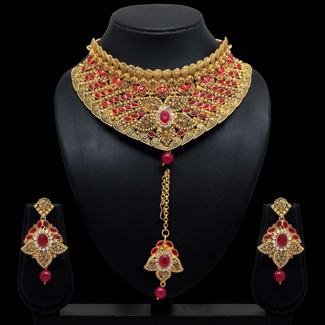 Conjunto joyas indias dorado