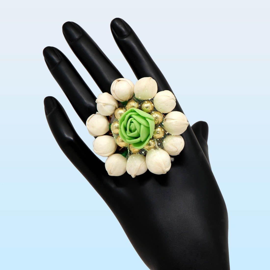 Anillo artesanal flores verdes