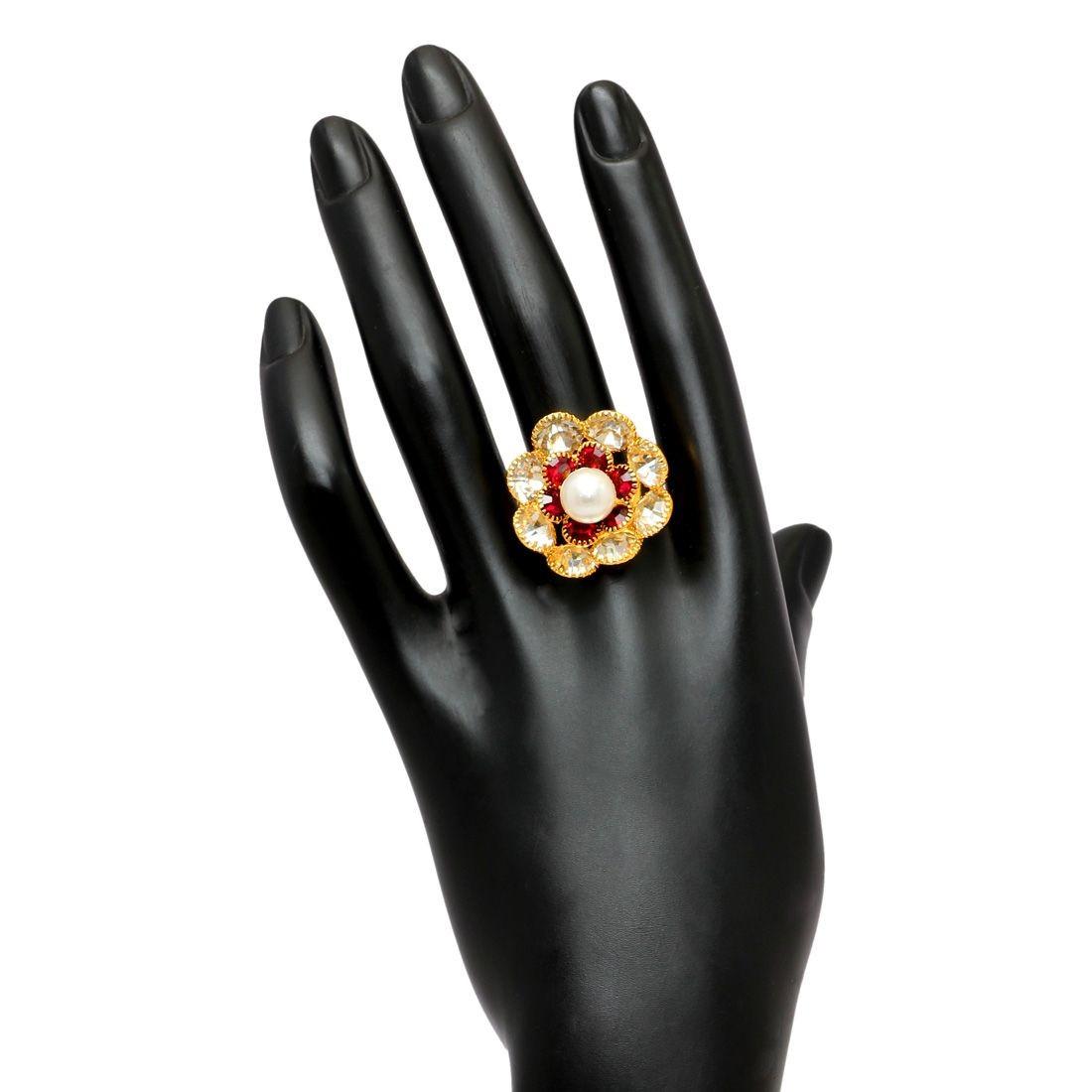 Anillo flor cristales y perla