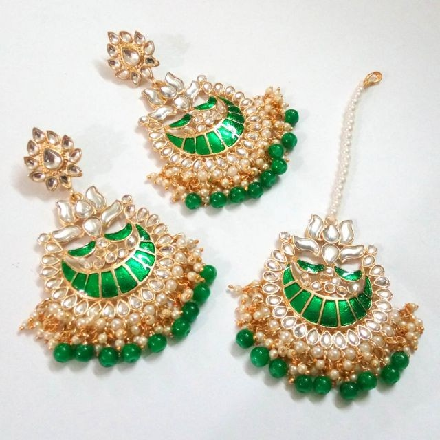 Pendientes verdes y tikka grande boda hindu