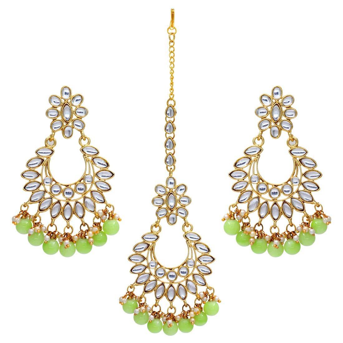 Pendientes india verde pistacho conjunto