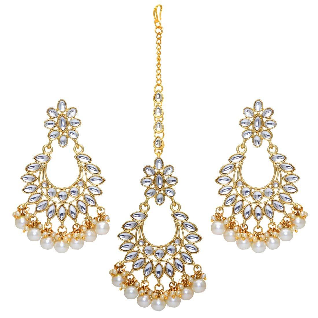 Conjunto pendientes de perla con joya frente