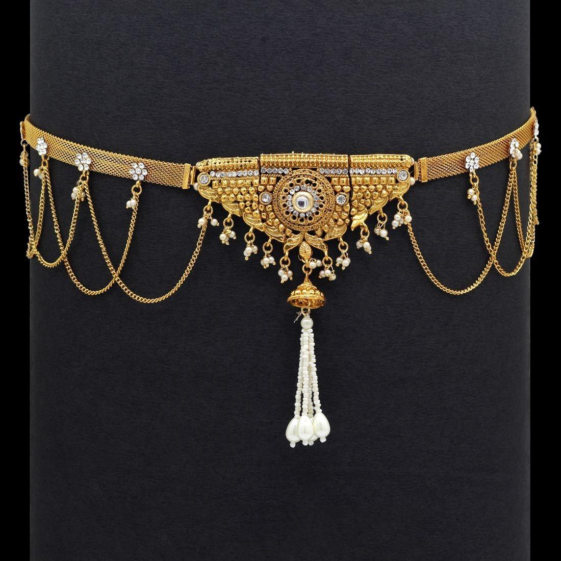 cinturon hindu dorado con piedras
