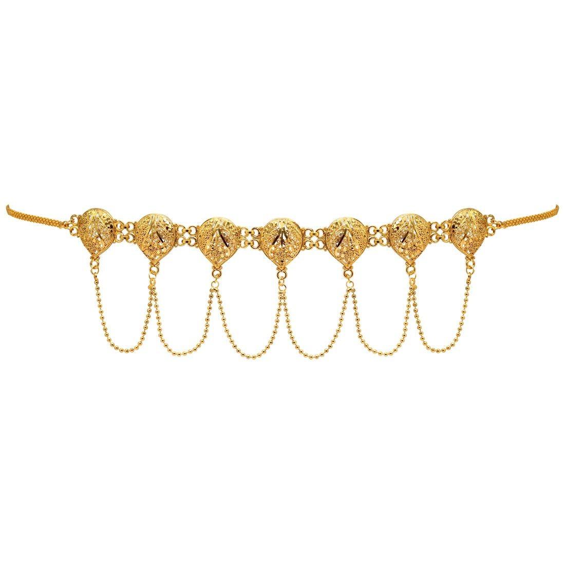 Cinturon dorado tallado con cadenas