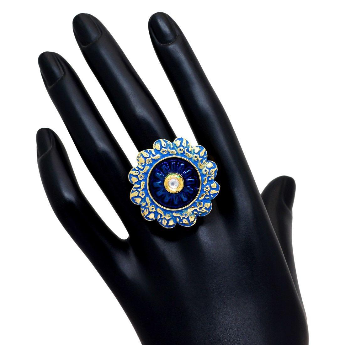 Anillo India azul y dorado