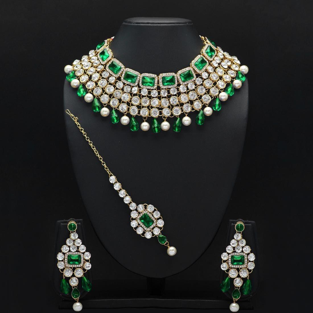 Conjunto Brillante Verde Esmeralda