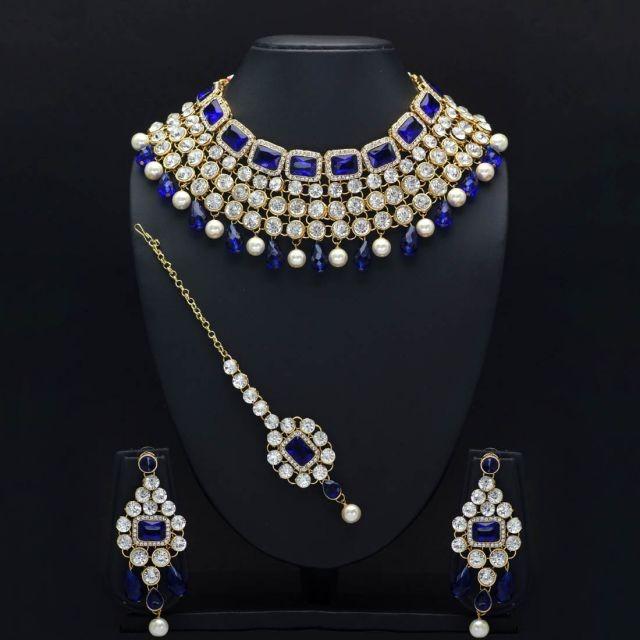 Conjunto azul joyas indias