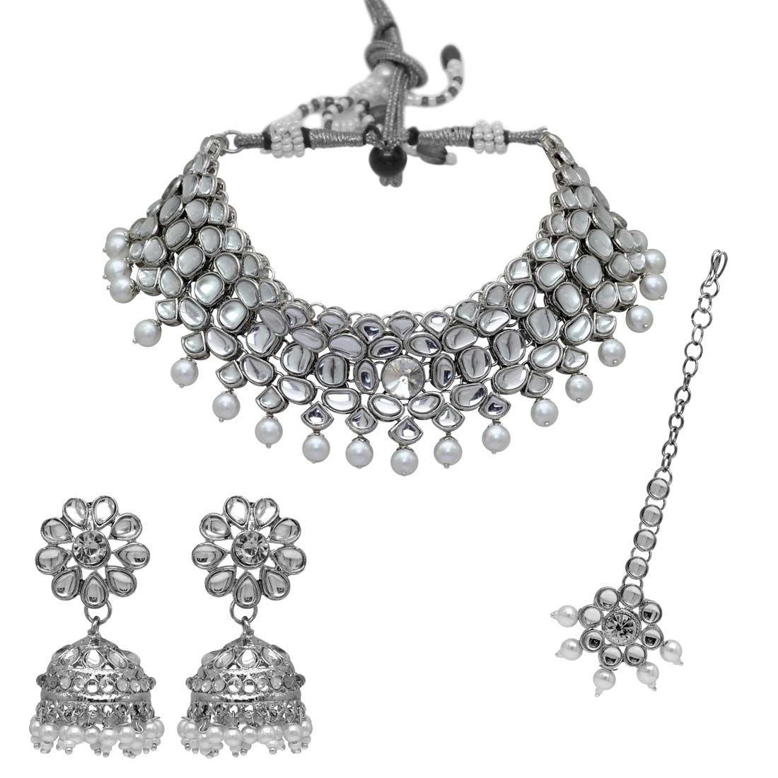 Conjunto india plata y perlas