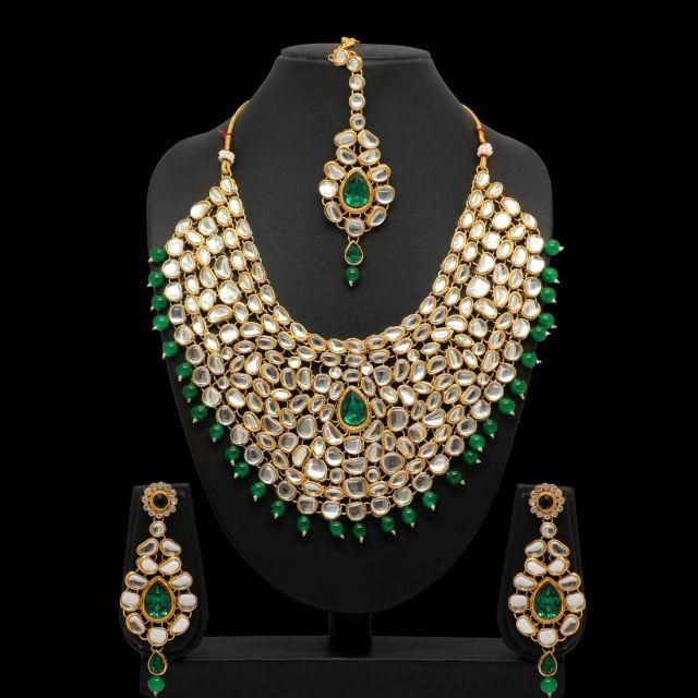 Conjunto kathak verde esmeralda