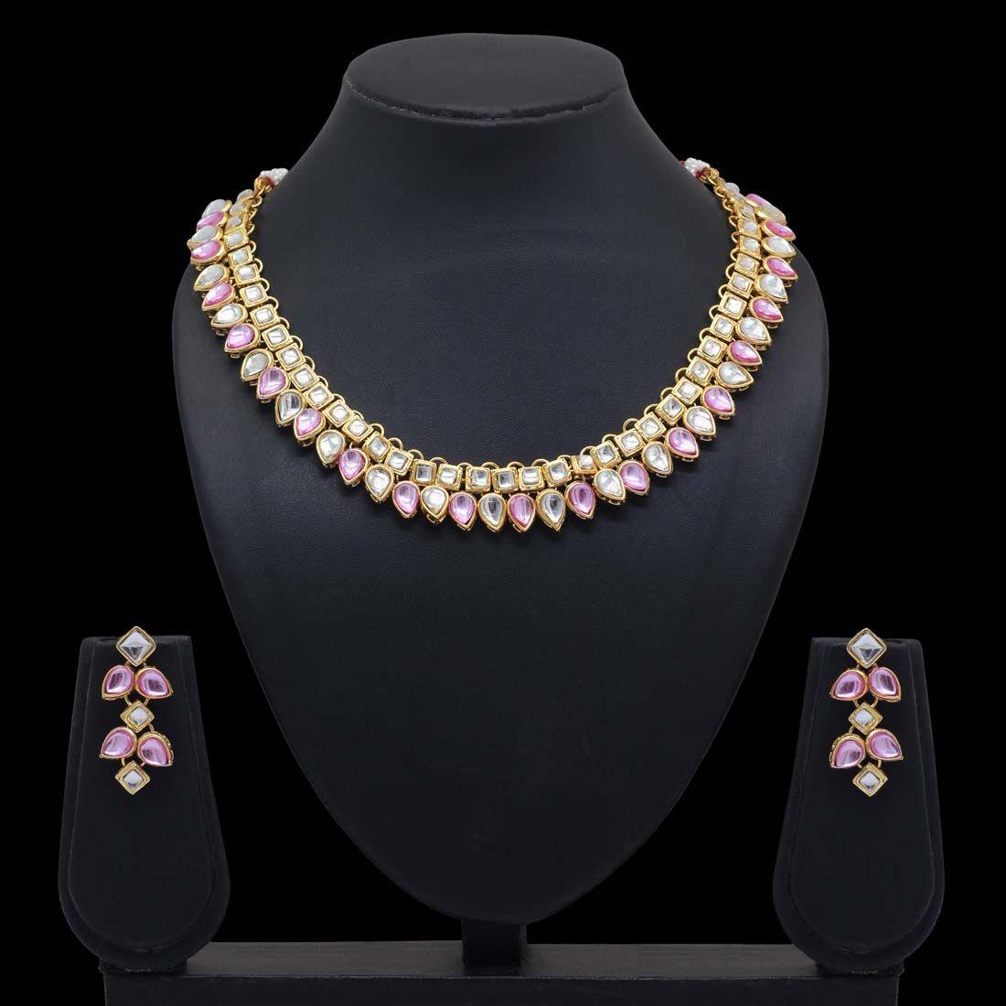 Collar y pendientes piedras rosas