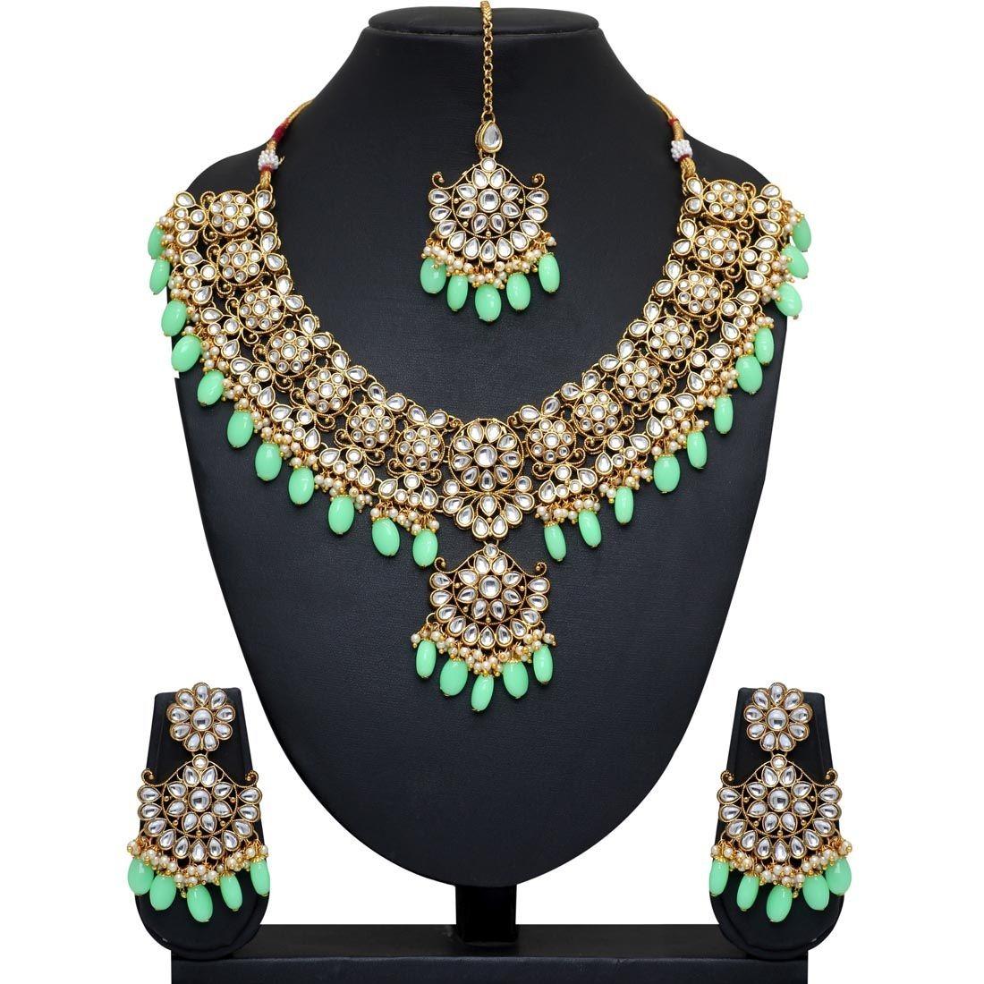 Conjunto joyas india verde claro