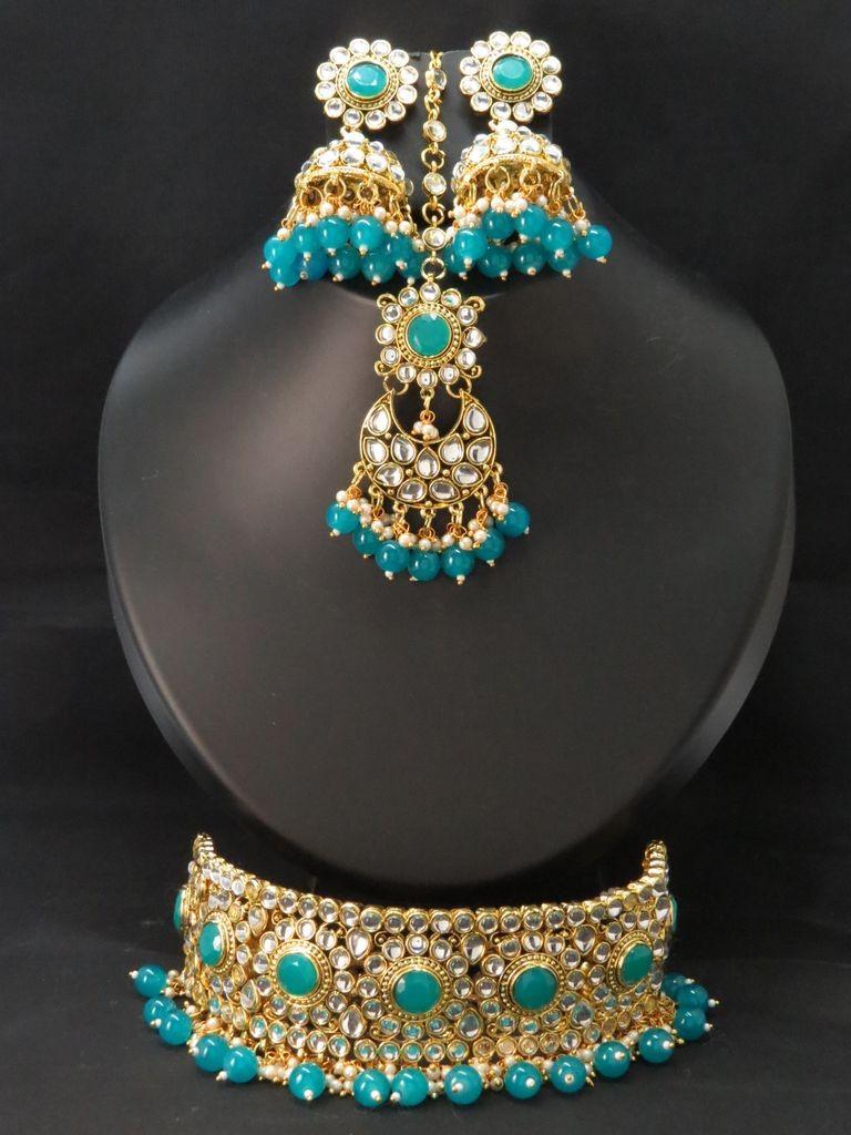 Conjunto hindu choker turquesa