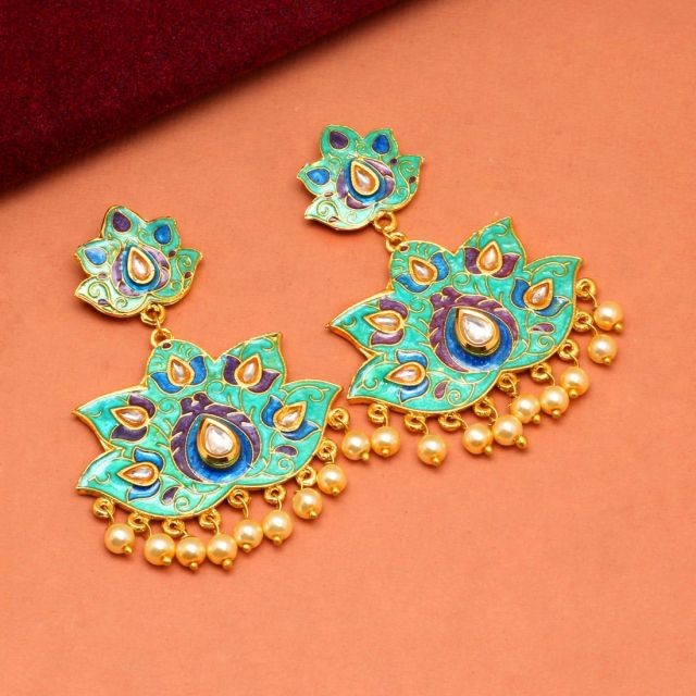 pendientes turquesas con perlas