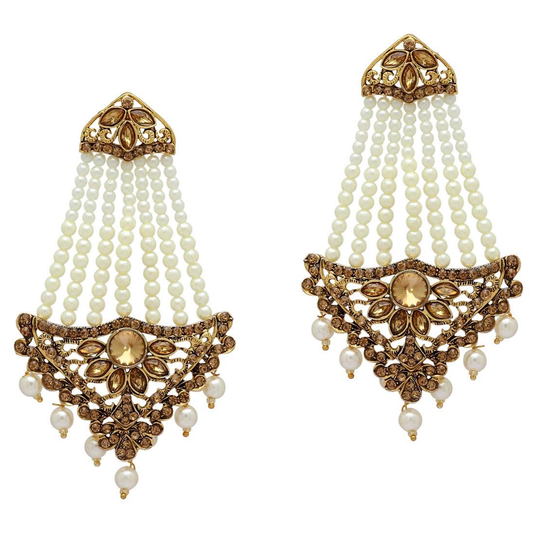 Pendientes largos de perlas