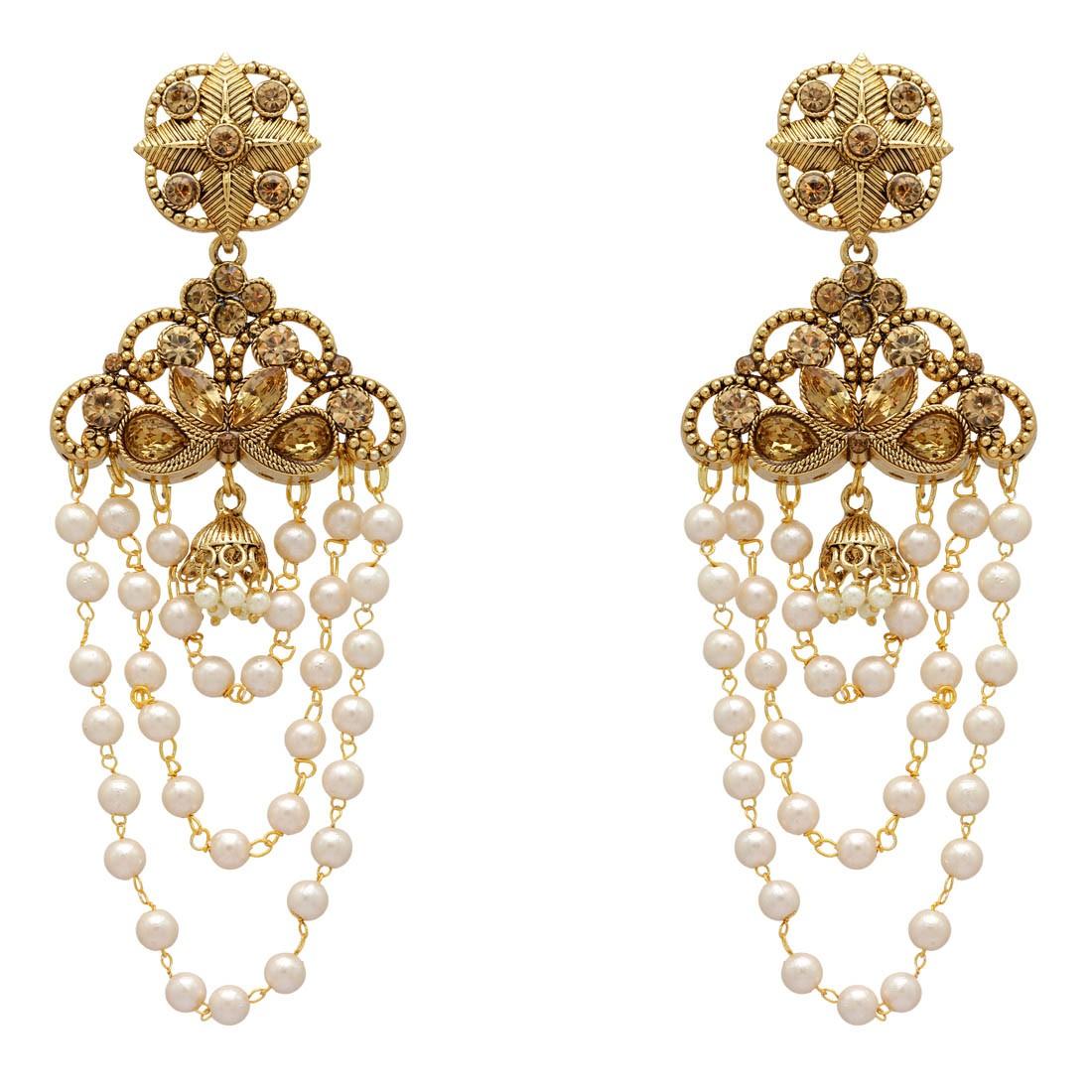 Pendientes extra largos perlas y piedras