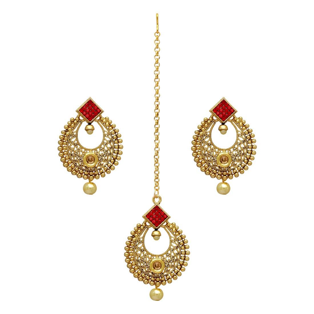 Pendientes color oro piedras rojas con tikka
