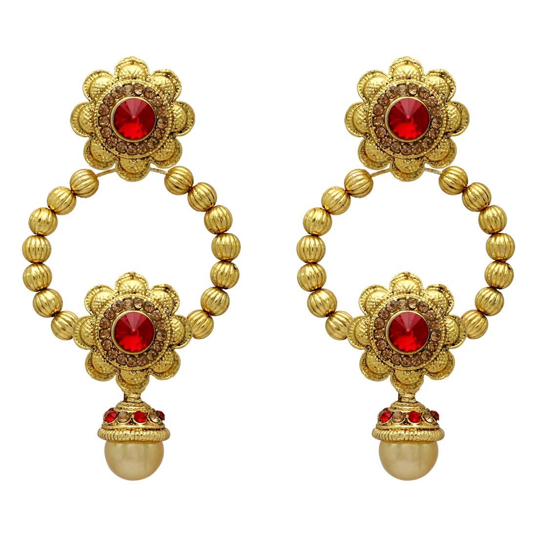 pendientes dorados y rojos con flores