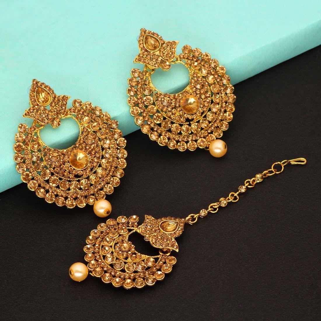 Conjunto joyas indias dorado champagne