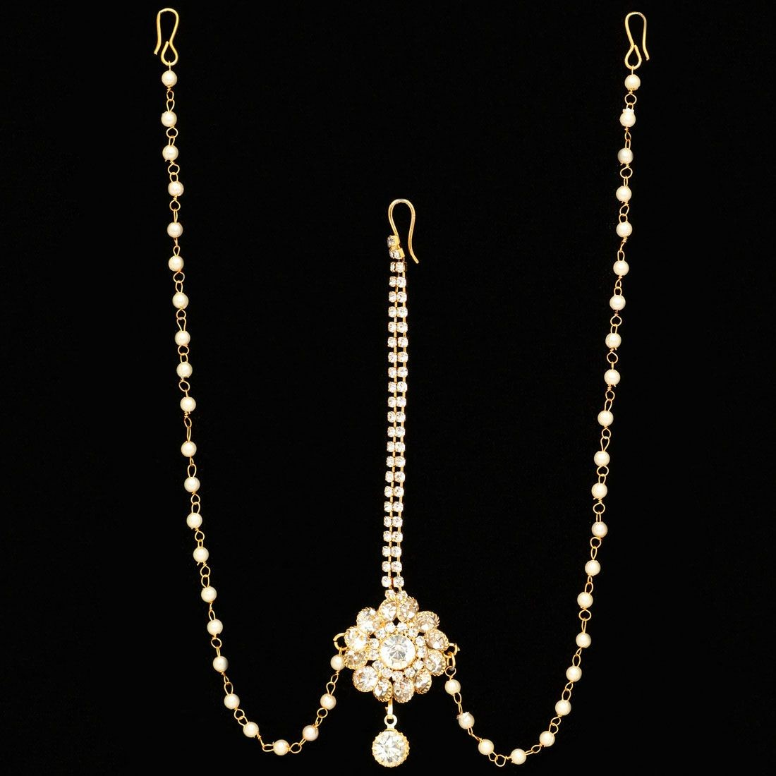 Tiara piedras brillantes y perlas