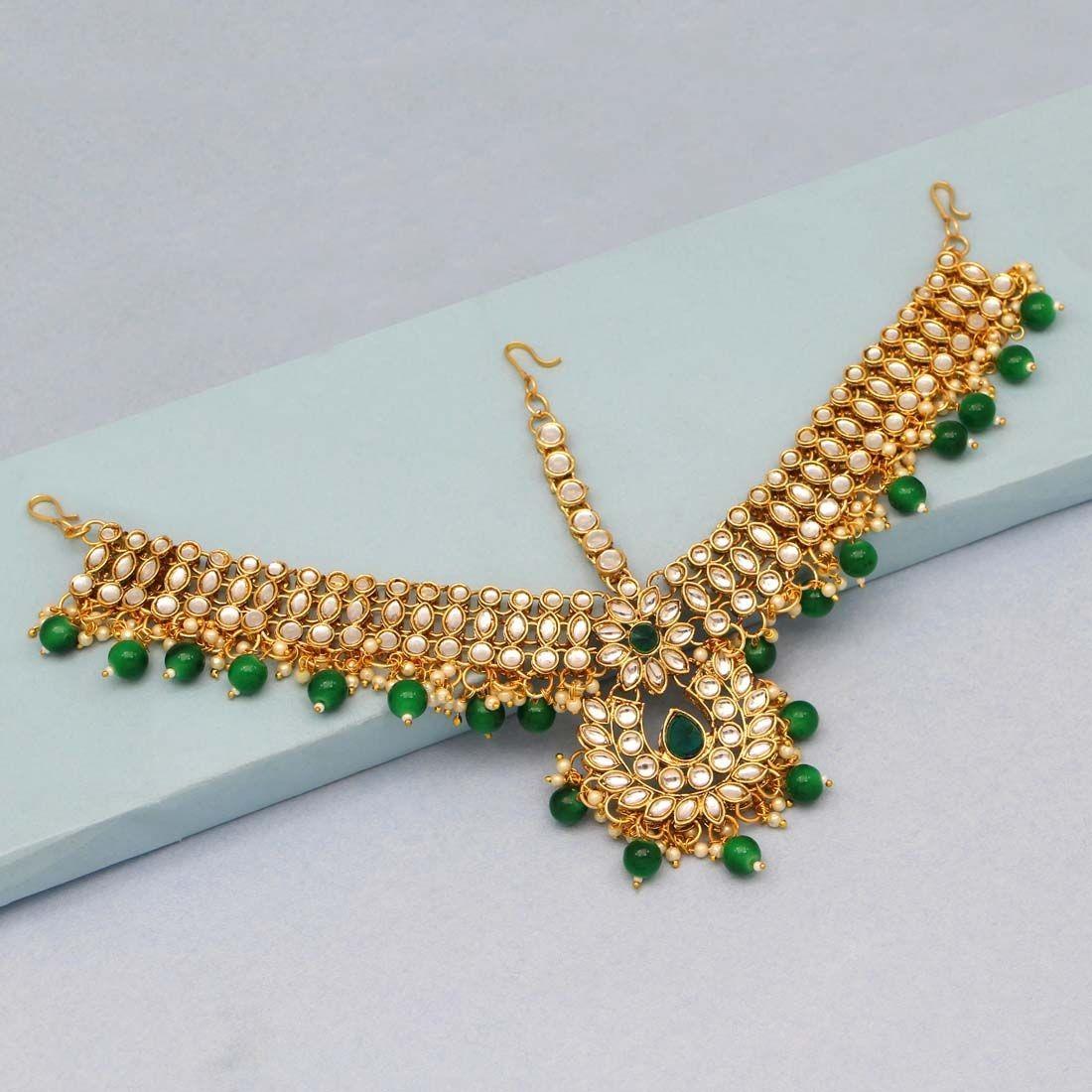 Tiara hindu verde esmeralda