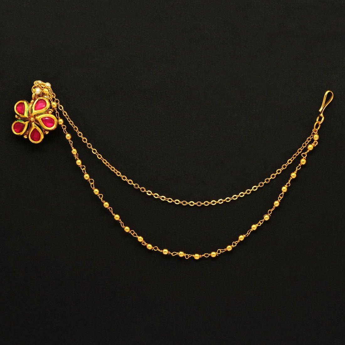 Pendiente nariz flor fuxia novia hindu