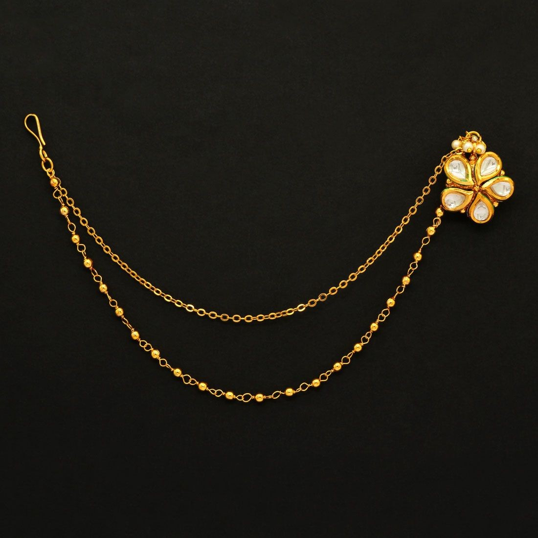 Pendiente nariz flor blanca novia hindu