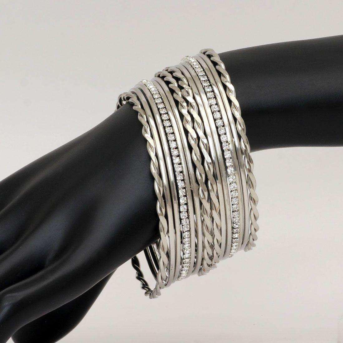 Conjunto de pulseras indias color plata