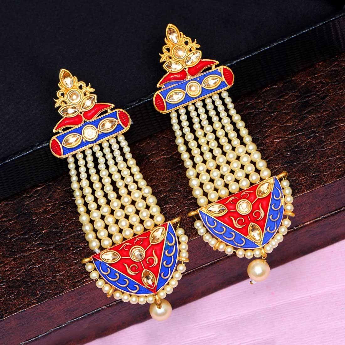 Pendientes perlas marfil con rojo y azul