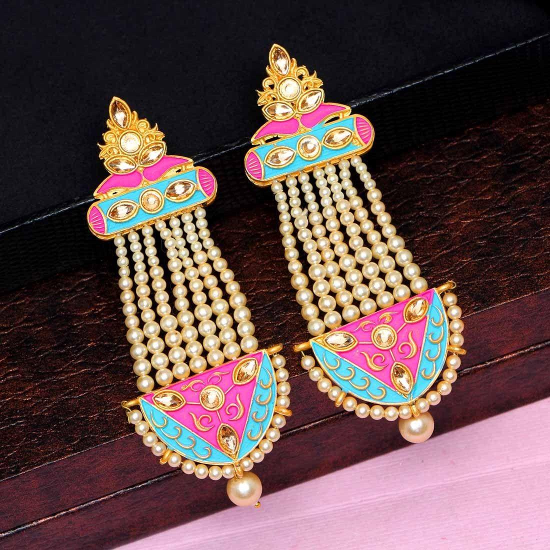 Pendientes perlas rosa chicle y turquesa