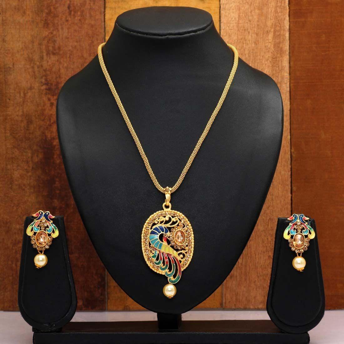 Collar colgante pavo real