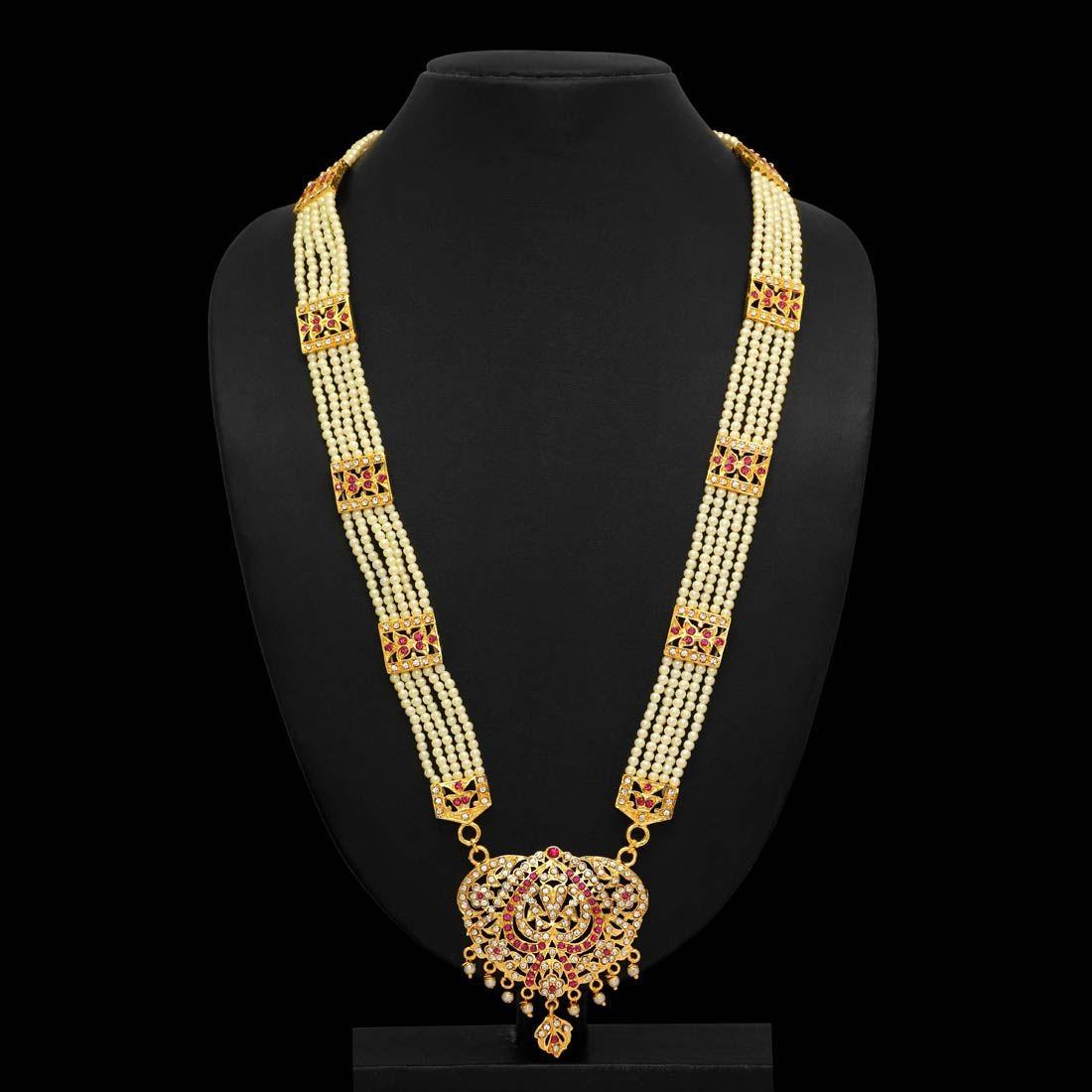 Collar largo perlas india