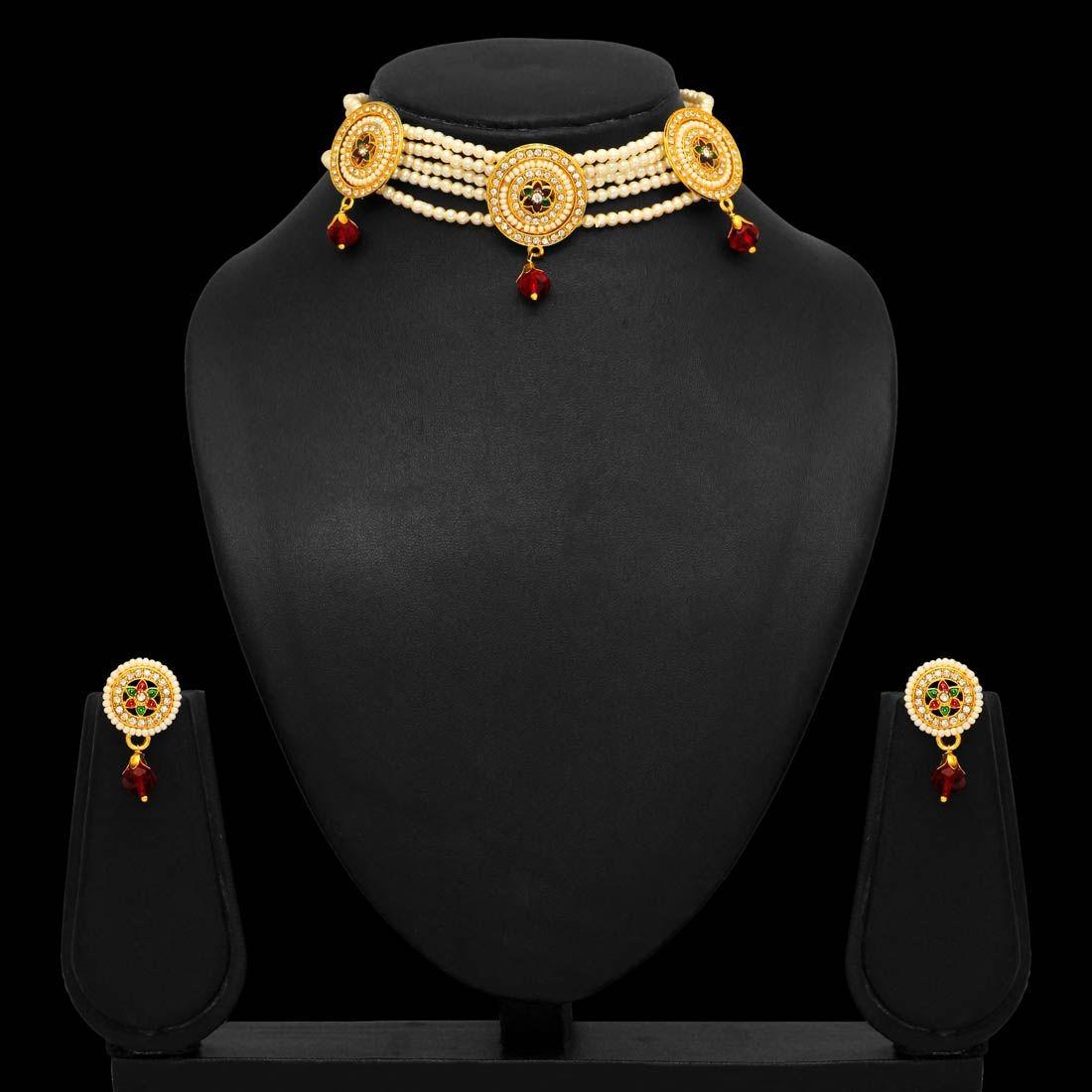 Collar choker perlas con pendientes