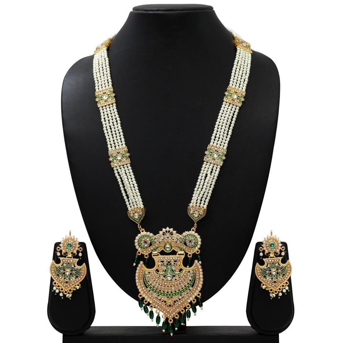 Collar medallon hindu verde