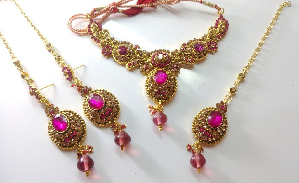 Conjunto piedras rosa fuxia Bollywood