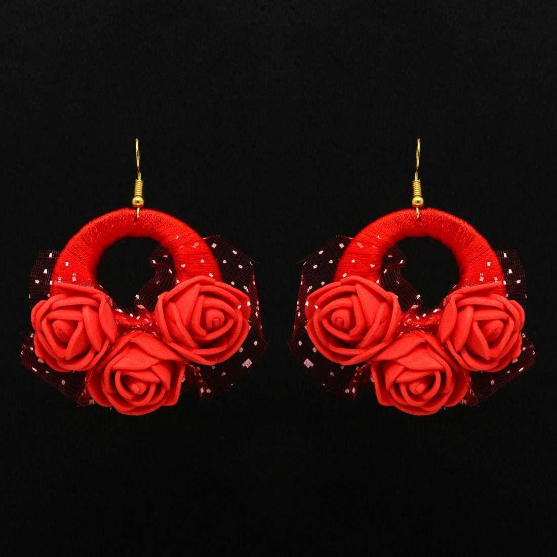 Pendientes rosas rojas con tul