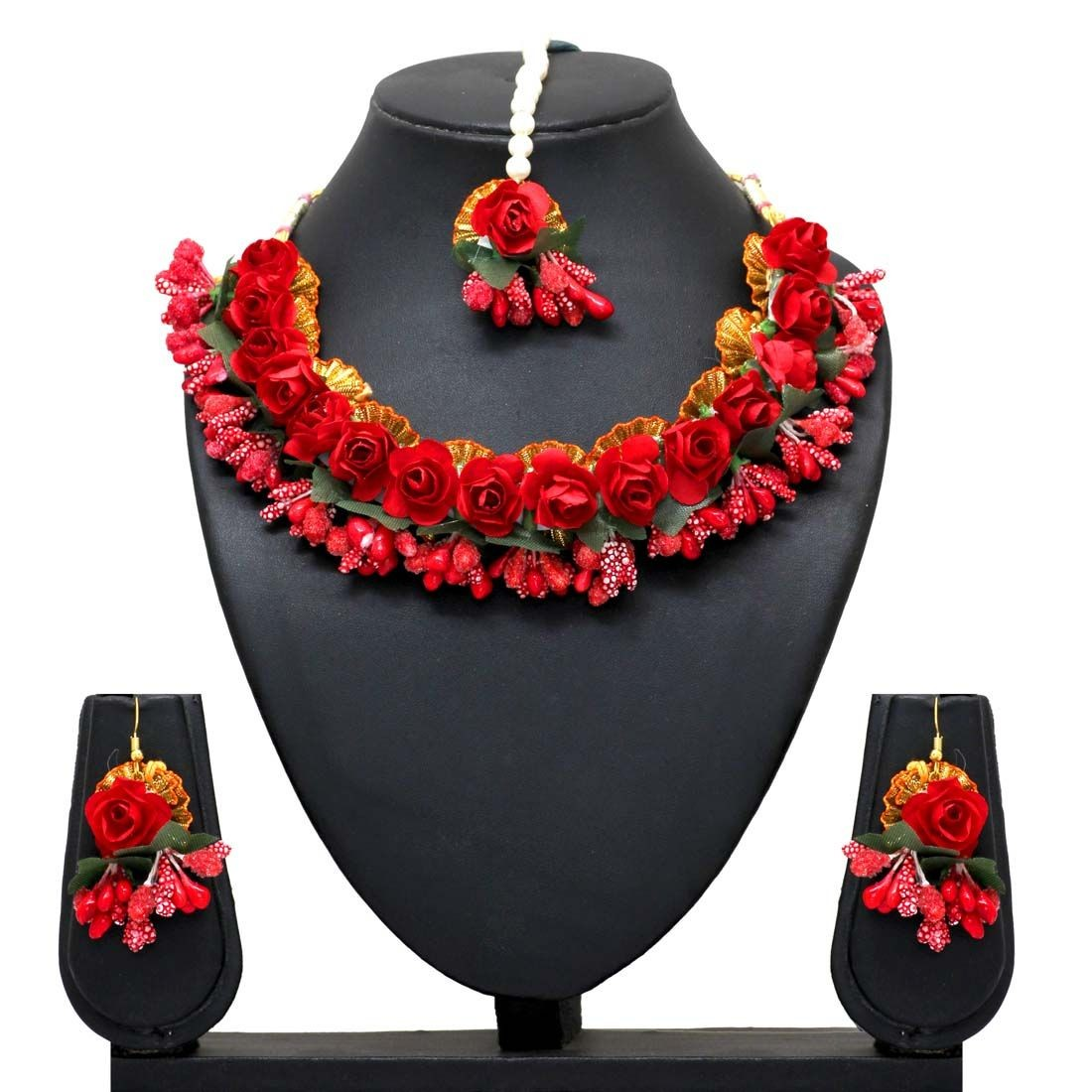 Conjunto artesanal rosas rojas