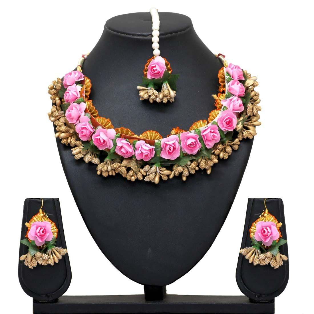 Conjunto india artesanal rosas