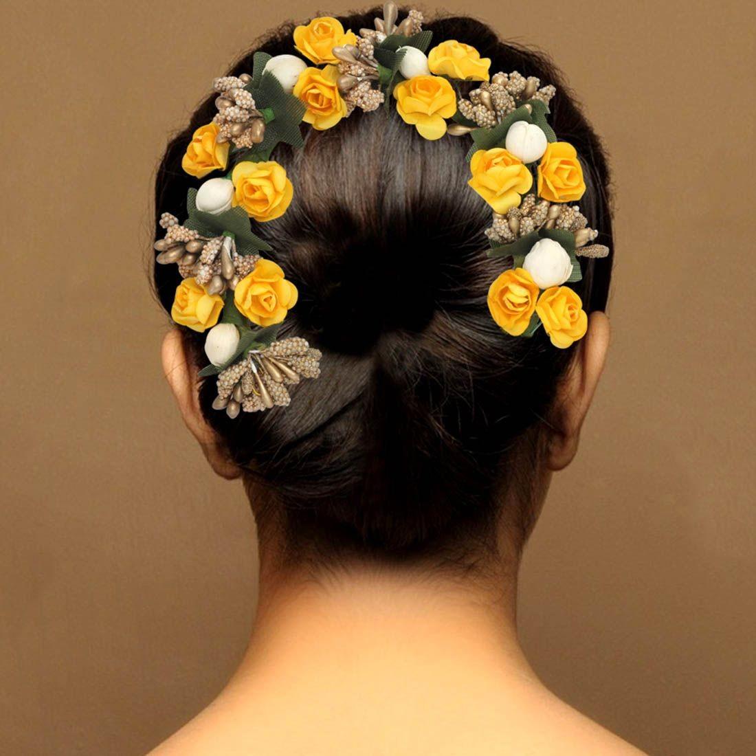 Tocado rosas amarillas con blanco y dorado