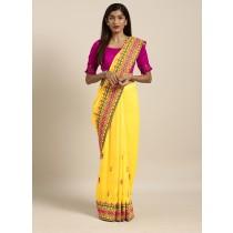 Sari amarillo bordado