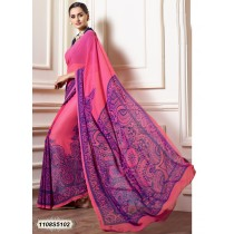 Sari rosa chicle y azul