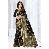 Saree de seda negro y dorado