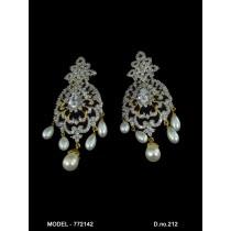 pendientes cristales circonita y perlas