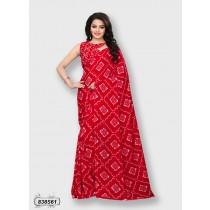Sari rojo estampado blanco