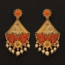 Pendientes grandes naranja y perlas