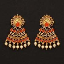 Pendientes indios naranjas con perlas