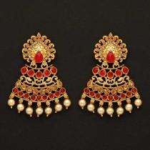 Pendientes India piedras rojas y perlas