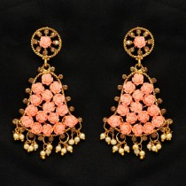 Pendientes campanas con rosas naranjas