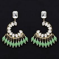 Pendientes cristales verde menta