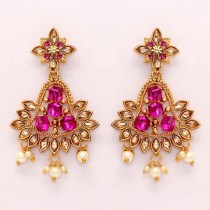 Pendientes 3D Cristales rosa fucsia