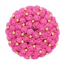 Tocado moño grande flores rosas